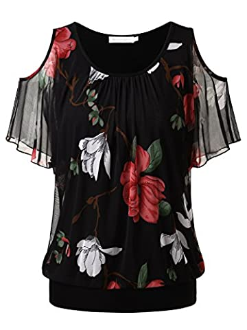 BAISHENGGT Women's Floral Print Hollow Out Shoulder Batwing Sleeve Mesh Tops Black-1 XX-Large