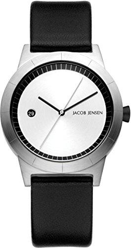 Jacob Jensen Damen Analog Quarz Uhr mit Leder Armband 150