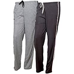IndiWeaves Women Premium Cotton Lower with 1 Zipper Pocket and 1 Open Pocket(Pack of 2)_Grey::Brown-42