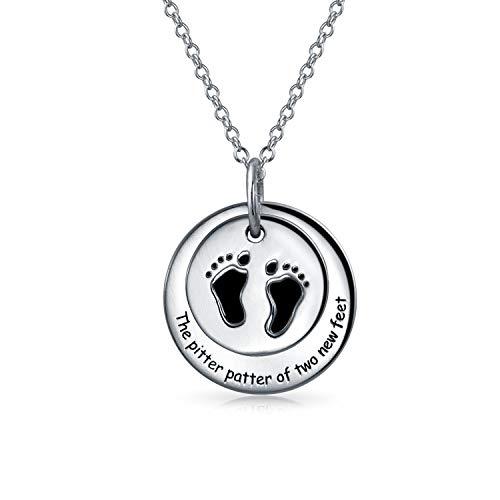 Foot Print 2 Runde Scheibe Anhänger Mit Kette Für Neue Mutter Für Damen Gravierbaren Schwarz 925 Sterling Silber Kette -
