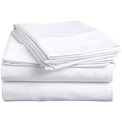 [hachette] 400fili 100% cotone egiziano lenzuolo con angoli matrimoniale bianco 40,6cm profondità