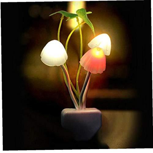 Pot: Blanco Hongo: Blanco Hoja verde Material: ABS y gel de sílice Grass: PP (propeno Polymer) Hongo: Silicio Hoja: Plástico Peso: 40 g Tamaño: 45mmX135mm  Paquete incluido: 1 x Nueva fantástico control de los sentidos luz de la seta llevó la lámpara...