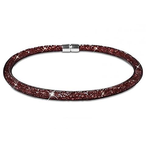 CASPAR Damen elegante Strass / Kristall Kette / Halskette / Collier im schwarzen Nylon-Netzschlauch - viele Farben - KT251, Farbe:braun