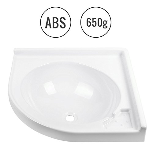Wohnwagen Wohnmobil Eck-Waschbecken Set, (L/B/T): 420 x 420 x 150 mm, Weiß, ABS Kunststoff
