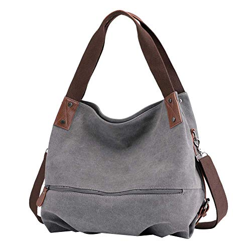 Huttoly Canvas Handtasche Damen, Umhängetaschen Tasche Vintage Schultertasche Crossbody Bag Tasche Shopper Beuteltasche (Grau) - Armband Damen-schulter-tasche