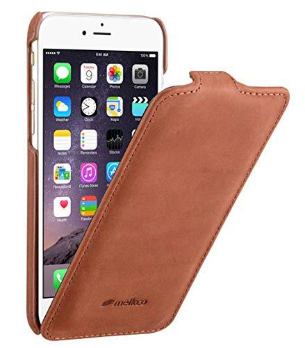 Edle Tasche für Apple iPhone 6S und 6 (4.7 Zoll) / Case Außenseite aus Echt-Leder / Cover Innenseite aus Textil / Schutz-Hülle aufklappbar / ultra-slim / Flip-Case / Vintage Look / Farbe: Braun Apple Farbe