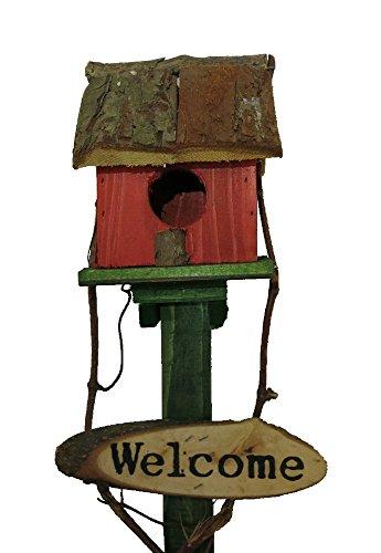 Vogelhaus aus Holz auf Stange zum hinstellen (11 x 63 x 10cm) - 2
