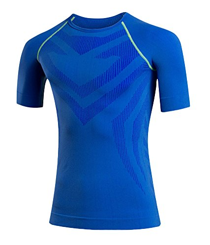 Icegrey da uomo Cool Dry Compression Baselayer manica corta magliette, Uomo, Blue, M
