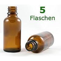 Braunglasflasche 30 ml DIN 18 ohne Verschluss, Glasflaschen, Apothekerflaschen, Tropfpipetten-Flaschen, Pipettenflaschen perfekt für Essenzen, Extrakte, Öle, Parfüme etc.