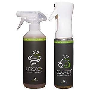 ECODOR -Urinkombipaket EcoPet Geruchs-/Fleckenentferner - 0,3 Liter + UF2000 0,5 Liter Uringeruchsneutralisierer