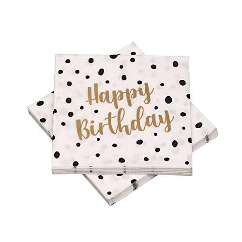 in due 20 Servietten 'Happy Birthday' Pünktchen Dots 33x33 cm - schwarz Gold - für Geburtstag (Und Candy Schwarz Gold)
