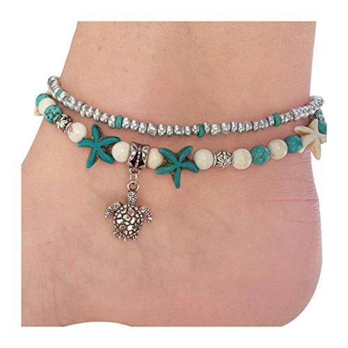 Trada Vintage Sea Turtle Fußkettchen, Mode Doppel Schildkröte Sea Snail Sea Star Yoga Strand Fuß Kette Armband Kette Animal Fuß Schmuck für Frauen Lady Mädchen Geschenk (Mehrfarbig)