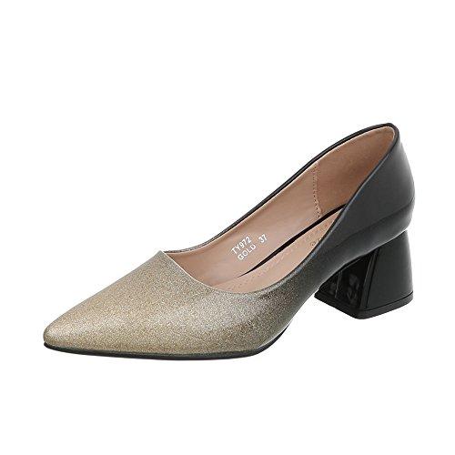 Ital-Design Klassische Pumps Damen-Schuhe Pump Moderne Schwarz Gold, Gr 38, Ty972-