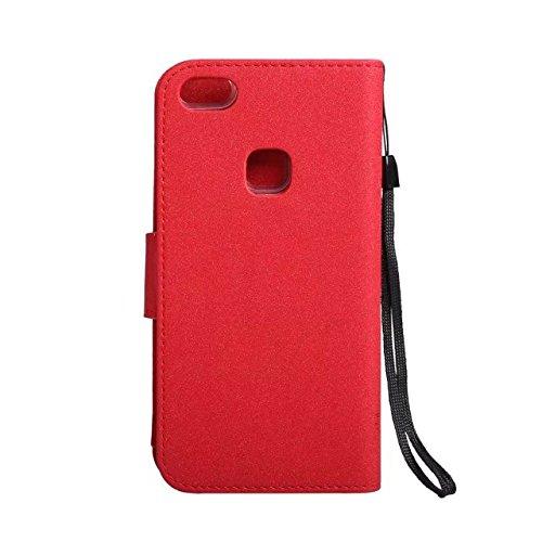 Abnehmbare 2 in 1 PU + TPU Ledertasche geprägte Blumen Stil glänzende Sparkles Brieftasche Stand Case Cover mit Kreditkarte Slots & Lanyard & Magnetic Closure für Huawei P10 LITE ( Color : Red ) Red