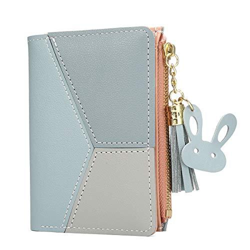 Joseko portafoglio donna,piccolo portafoglio multi-slot in pelle pu con frange a forma di cuore con pochette a doppio strato blu