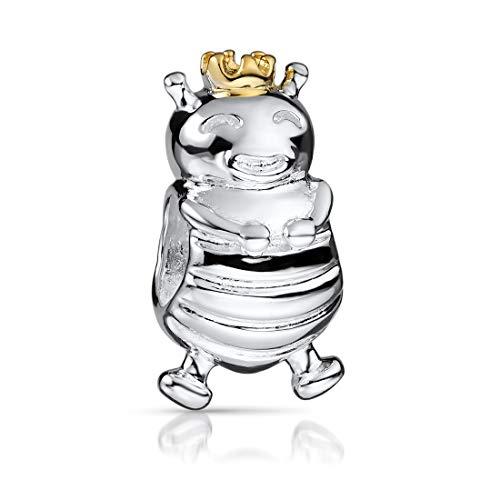 MATERIA 925 Silber Charms Biene Anhänger - Damen Beads Bienen-Königin mit Krone vergoldet 298