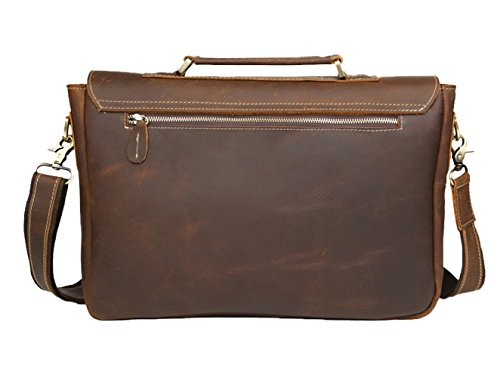 Insun , Sacs à bandoulière homme Brown Crazy Horse Leather
