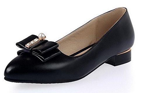AllhqFashion Femme à Talon Bas Matière Mélangee Couleur Unie Tire Pointu Chaussures Légeres Noir