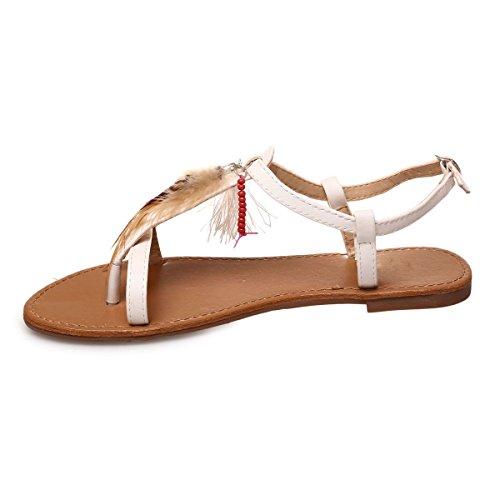 La Modeuse Sandales Plates Type Nu-Pieds avec Bride Ajustable au Niveau de la Cheville Blanc