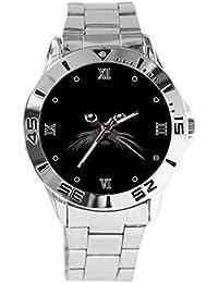 43f0f9b37b66 Reloj de Pulsera analógico con diseño de Cara de Gato Sobre Fondo Negro