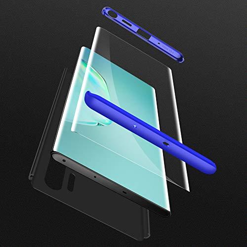HOJKCY Coque Compatible avec Samsung Galaxy Note 10 Plus,Étui 360 Degree Antichoc Protection Matte PC 3 en 1 Anti-Scratch Full Body Cover Housse Bumper Case +Protège Écran Verre(Bleu+Noir)