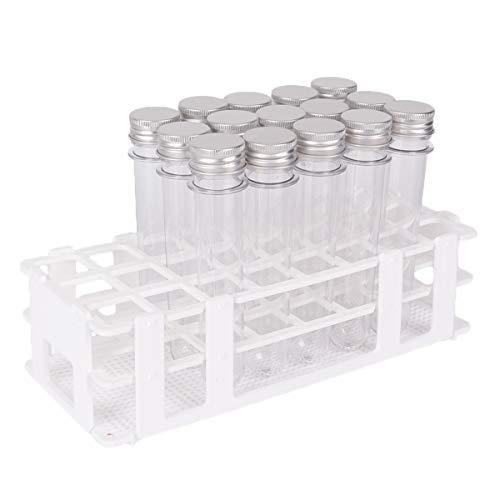 Chougui Reagenzgläser mit Ablage, 40 ml, transparenter Kunststoff, Reagenzglas mit Kappen, 25 x 140 mm, 24 Löcher, abnehmbarer Reagenzglashalter für 25 mm Röhren