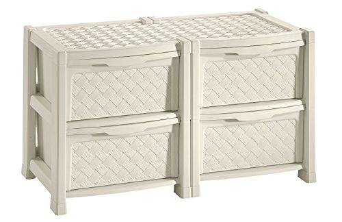 Tontarelli arianna cassettiera con 4 cassetti doppia, angora, 78x49.5x44.5 cm