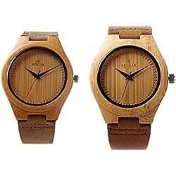 StillCool Uhr Armbanduhr Bambus Holz Uhr Naturholz Echtes Leder Für Frauen Männer Paar (Paar) Uhr