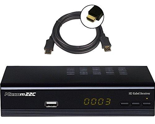 Microelectronic Micro m22c Full HD DVB-C Kabelreceiver + HDMI Kabel (HDMI/SCART/USB/LAN (RJ45), PVR Ready, Mediaplayer) schwarz