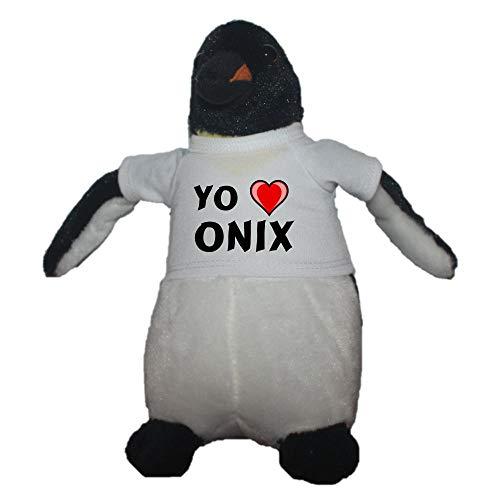 Shopzeus Pingüino personalizado de peluche (juguete) con Amo Onix en la camiseta (nombre de pila/apellido/apodo)