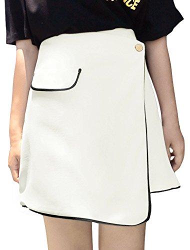 sourcingmap Damen Hohe Taille Kontrastfarbe Trimm Überzug Rock Weiß