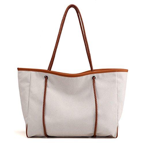 PDFGO Tote Damen Beutel Casual Messenger Bag Solid Canvas Schulter Große Rucksack Tote Bag Hand Tasche White