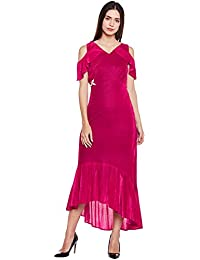 Pink cold shoulder ruffle dress with embellished waist
