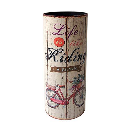 Rebecca mobili portaombrello portaombrelli canvas beige tondo life is riding vintage entrata ingresso - 49 x 20 x 20 cm (h x l x p) - art. re4760
