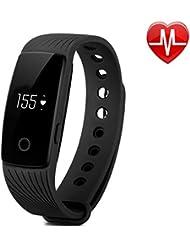 YAMAY Fitness Armband Uhr mit Pulsmesser,Fitness Tracker Herzfrequenzmesser Aktivitätstracker Bluetooth Smart-Armband Schrittzähler Pulsuhren,Smart Notifications für Android und IOS(Neueste)