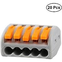 UKCOCO Conector de cable de 5 puertos, 20 unidades de bloque de paquete Conector de cable de empalme rápido de conchasto PCT de concatenación rápida
