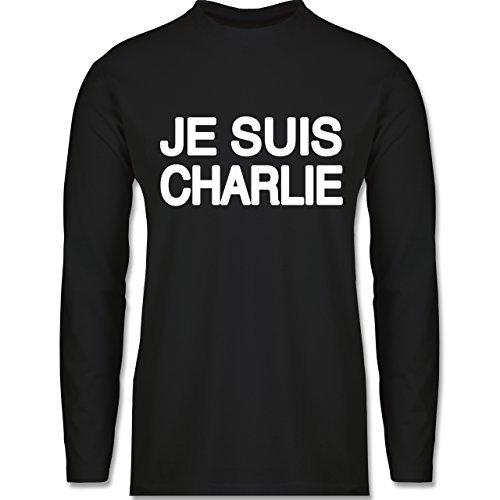 Shirtracer Statement Shirts - Je Suis Charlie - Anschlag Charlie Hebdo Protest - Herren Langarmshirt Schwarz