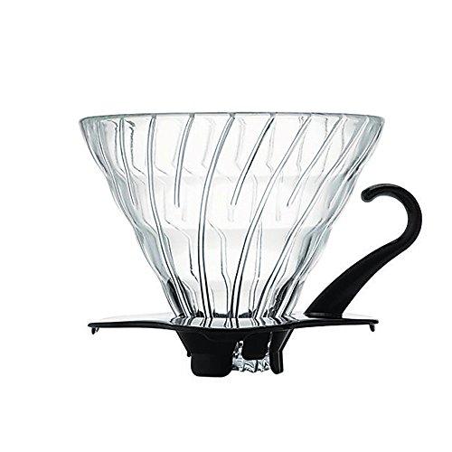 Hario VDG-02B V60 Kaffeefilterhalter Glas- Größe 02/1-4 Tassen mit schwarzem Kunststoffgriff (1 2 Tasse Glas)