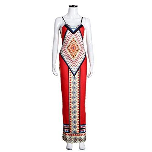 Transer ® Robe Femme, Ete Femme 2016 O-Neck Sans manche Boho Casual Dress Maxi longue Party Robe De Cocktail SoiréE longue-Robe Bleu/Rouge/Blanc(S-XL) Rouge