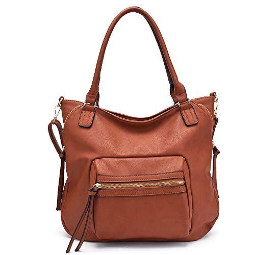 XHLLX Handtasche Frauenstil, Freizeit Hohe Kapazität Tragbar Und Schräg Multifunktion Pu-Leder Anwendbar Einkaufen Zusammenkommen Arbeitsplätze Schule,Brown