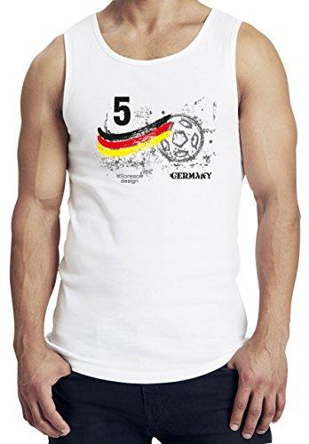 Cooles Männer und Jungen Funshirt als ideales Geschenk für alle Fussball Fans zum Halbfinale und Finale der Euro in France 2016 mit dem Motiv: Fußball Nr. 5 Germany Farbe: weiss Weiß