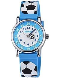 KZKR Reloj para niños de cuarzo Deportivo de Cuarzo 3D Analógico para Niños con dibujo Cartoon de Fútbol Soccer pulsera Multicolores - Fútbol - con caja de regalo (Azul)