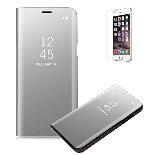 Funyye-Clear-View-Flip-Custodia-Cover-per-iPhone-XLusso-Elegante-Specchio-Copertura-Trasparente-Placcatura-Multifunzionale-con-Funzione-Stand-Full-Body-Cassa-CuoioMetalli-Ultra-Anti-Scratch-Sottile-Pe