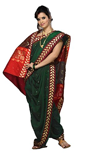 Bhartiya Vastra Bhandar Women's Ready To Wear Nauvari Saree(DNo5_NecklaceBorder_DarkGreen_FreeSize)