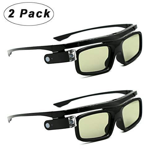 3D-Brille, 3D Aktive Shutterbrille Wiederaufladbare Brillen, Geeignet für 3D DLP-Link Projektor Acer BenQ Optoma Viewsonic Philips LG Infocus NEC Jmgo Vivitek Cocar Toumei - 2 Stück
