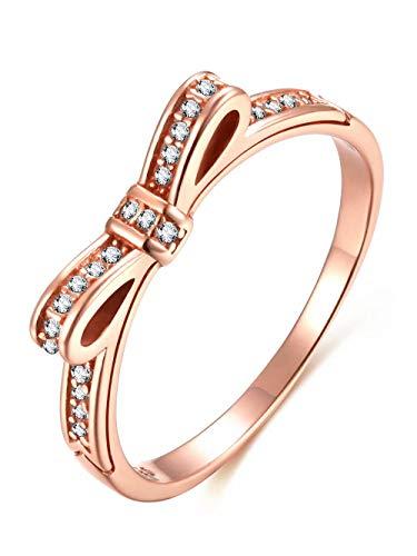 Presentski 925 Anillo Plata Ley Lazo Oro Rosa Cubic