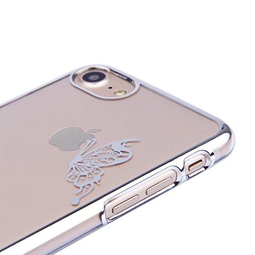 iPhone 8 Custodia, iPhone 8 Cover, iPhone 8 4.7 Custodia Trasparente, JAWSEU Sparkles Cristallo Chiaro Super Sottile Case Custodia Cover per iPhone 7 / 8 con Placcatura telaio con il modello del dente Farfalla Argento