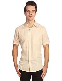 Reevolution Men's Self Design Khaki Cotton Linen Shirt (MLHS310323)
