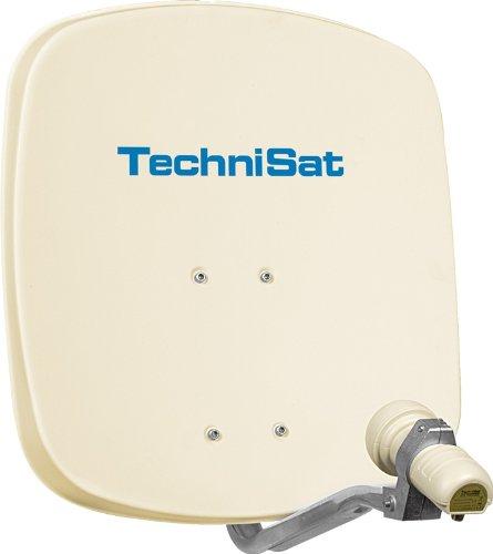 TechniSat DIGIDISH 45 - Satelliten-Schüssel, 45 cm Spiegel mit Wandhalterung und Universal V/H Single-LNB (Ein Teilnehmer) beige