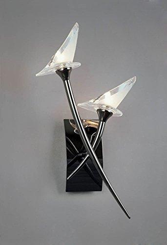 Flavia Switched Wall Lamp 2 Light Black Chrome